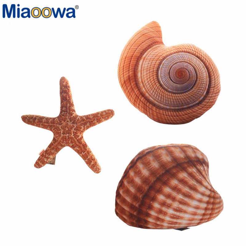 1pc Creative Marine Life Plush Pillows Conch & Shell & Starfish Staffed Plush Toys Cute Cushion Dolls for Kids Children