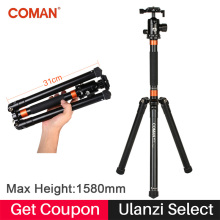 Coman MT70 Aluminium Camera Tripod Monopod 62.2 in Foldable Tripod With Panoramic Ball-Head Quick Release Plate for DSLR Camera
