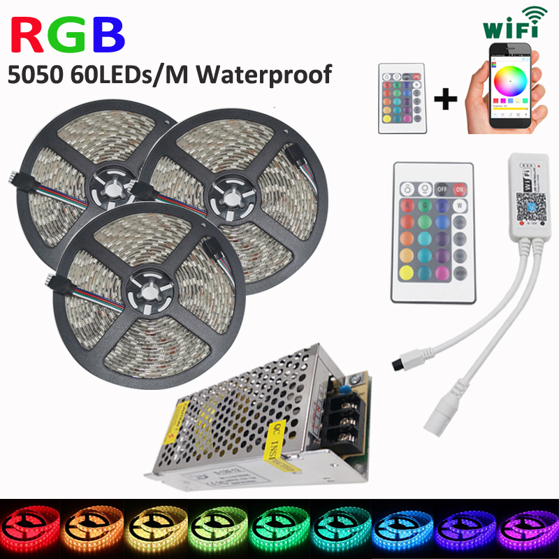 Waterproof 15M 5050 RGB LED Strip5050 Flexible Strip Light  60led/m  With RGB LED Smart WiFi Controller AC Power Supply Full Kit кабель usb lightning inter step is dc iph5mfibl blue
