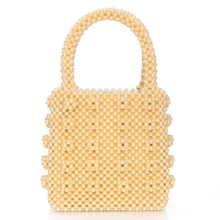 Fashion Artificial Pearl Bag Box Vintage Beaded Top-handle Japan Totes Yellow Green Evening Party Bolsa Feminin Luxury Handbags