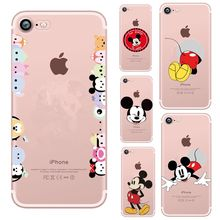 Funda suave TPU para iphone 6 7 8 Plus Stitch Mickey Mouse para mujeres funda transparente Coque para iphone SE 6 S X 10 cubierta(China)