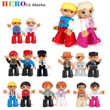 Single Sale Big Size Building Blocks Compatible for DUPLOed Family Worker Police Bricks Action Figures Toys Kids Gifts(China)