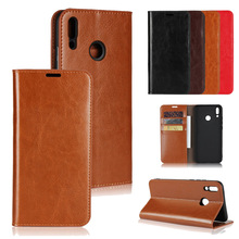 LUCKBUY Luxury Genuine Leather Wallet Phone Cases funda for Huawei Y9 2019 Slim Business Style Book 2018