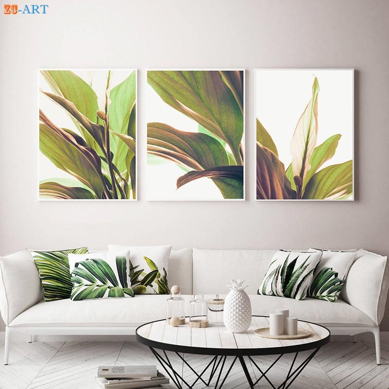 Nordic Green Plant Leaves Print Botanical Modern Art ... on Modern Boho Wall Decor  id=58389