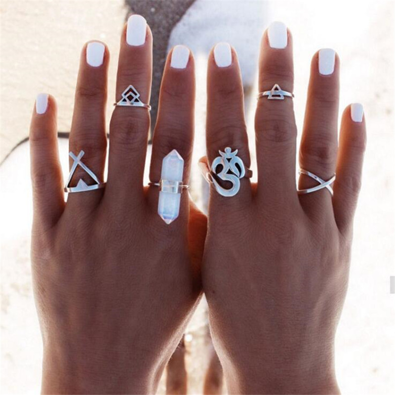 2016 New 6pcs/Set Vintage Punk Ring Set Hollow Antique Silver Plated Lucky midi Rings Women Boho Beach Jewelry Natural Stone