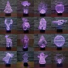 3D LED Lamp Star Wars Bulbing Color Change Luminous Desk Lamp Spiderman Goku Santa Claus BB8