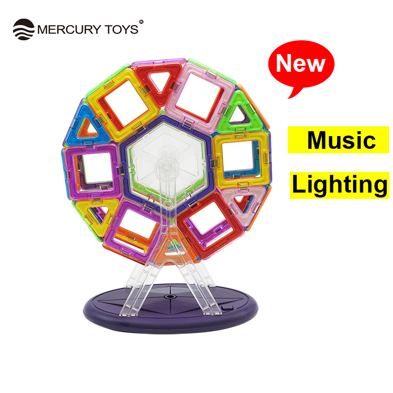 46PCS/Set Musical Lighting Ferris Wheel Standard Size Magnetic Blocks 3D Model Building Bricks kids Educational Toy Colorful New yks colorful balls perpetual motion revolving ferris wheel desk decor kids toy chriamas gift new sale