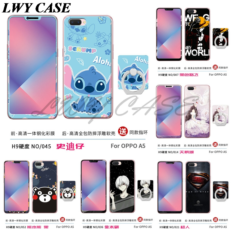 ᗜ lj For Oppo A3s Oppo A5 Tempered Glass Cartoon Eiffel