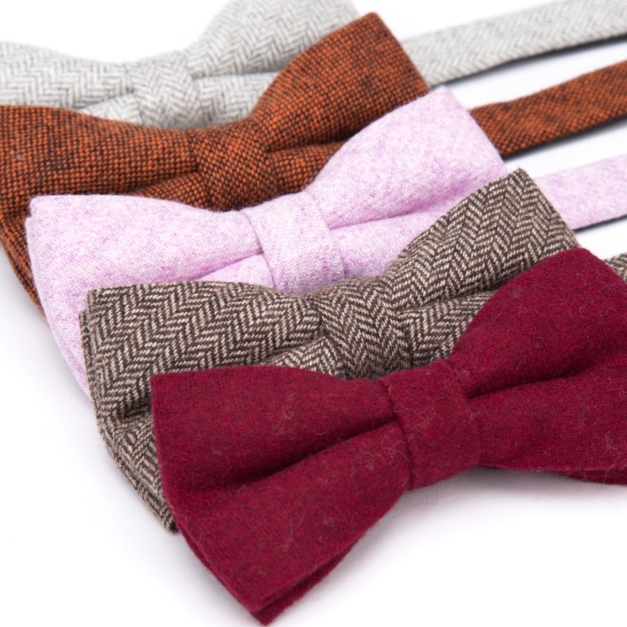 Men Bowtie Solid Wool Ties Mens Fashion Necktie Business Wedding Party Bow Tie Male Dress Shirt Accessories Corbatas Para Hombre
