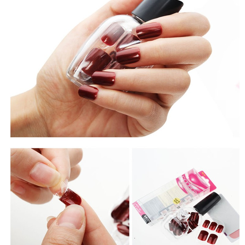 12sets Full Cover Wine Color Self Adhesive Fake Nail Polish Tips Deep Dark Red Glued Nails Artificial French Manicure Tip Rcp 32 In False From Beauty