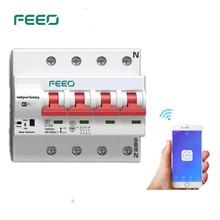 цена на FEEO 4P 100/125A Remote control Wifi Circuit Breaker  Intelligent Automatic Recloser overload short circuit protection