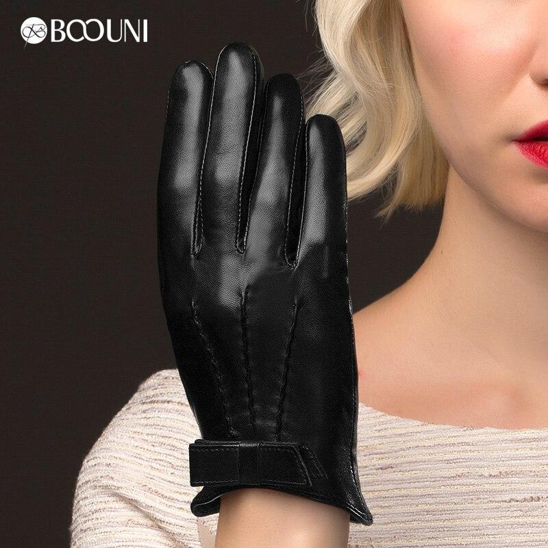4faea4490 Boouni حقيقية قفازات جلد النساء أزياء سوداء قصيرة الغنم الحقيقي الشتاء  الحراري ثخن القوس عقدة القيادة قفاز NW113