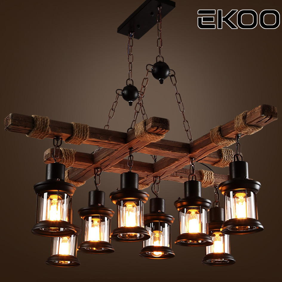 Us 273 75 Ekoo 8 Light Vintage Retro Wood E27 Chandelier Iron Lamp Rustic For Restaurant Bar Living Room In Chandeliers