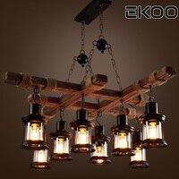 EKOO 8 Light Vintage Industrial Retro Wood E27 Chandelier Iron Lamp Industrial Rustic Light for restaurant bar Living Room