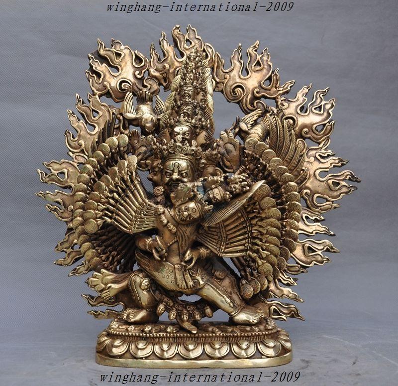 Le bouddhisme tibétain en laiton de cuivre de noël Vajravarahi Kalachakra Tantra Bouddha Mahakala statue halloween
