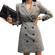 New Arrival Elegant double breasted long suit blazer femme Autumn Winter Plaid Ladies blazer Women coat jacket casual outerwear