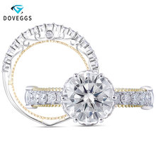 DovEggs 14K Solid White and Yellow Gold 1.5ct F Color Moissanite Engagement Ring Set with Accent Romantic Eternity Wedding Band