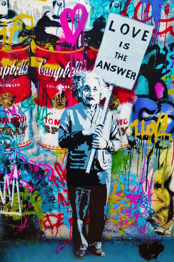 Einstein liebe ist die antwort BANKSY iti Kunst poster drucken DIY ...
