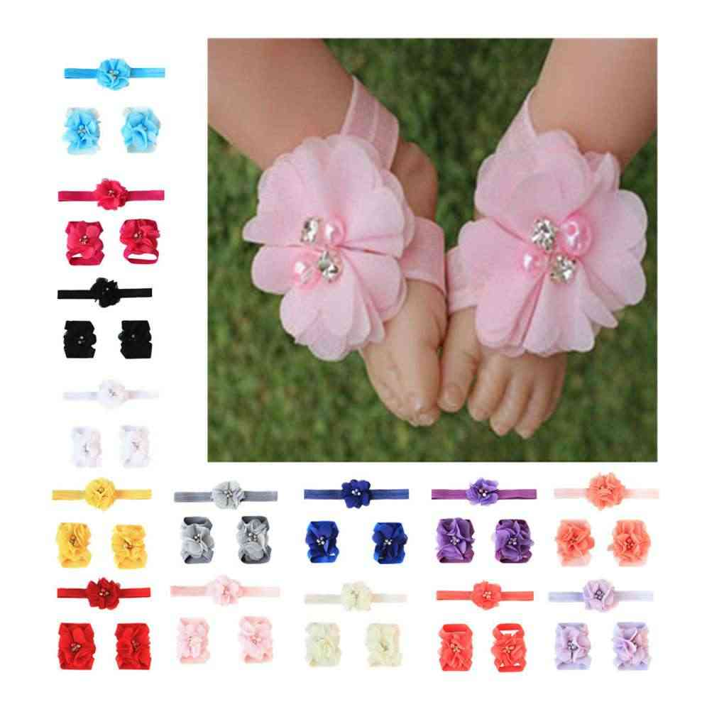 2019 New 3pcs Chiffon Flower Headband Barefoot Sandals Set Baby Kids Elastic Foot Band Solid Hair Bands for Photography