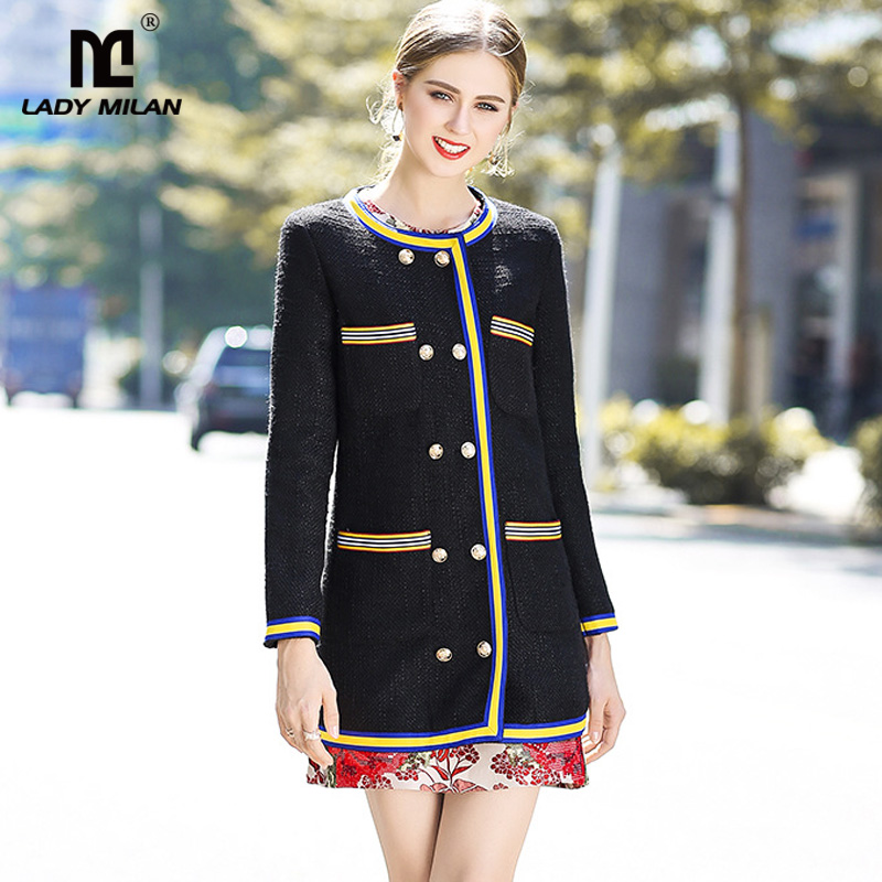 New Arrival 2018 Womens O Neck Long Sleeves Striped Double Breasted High Street Fashion Woolen Trench Coats Outerwear