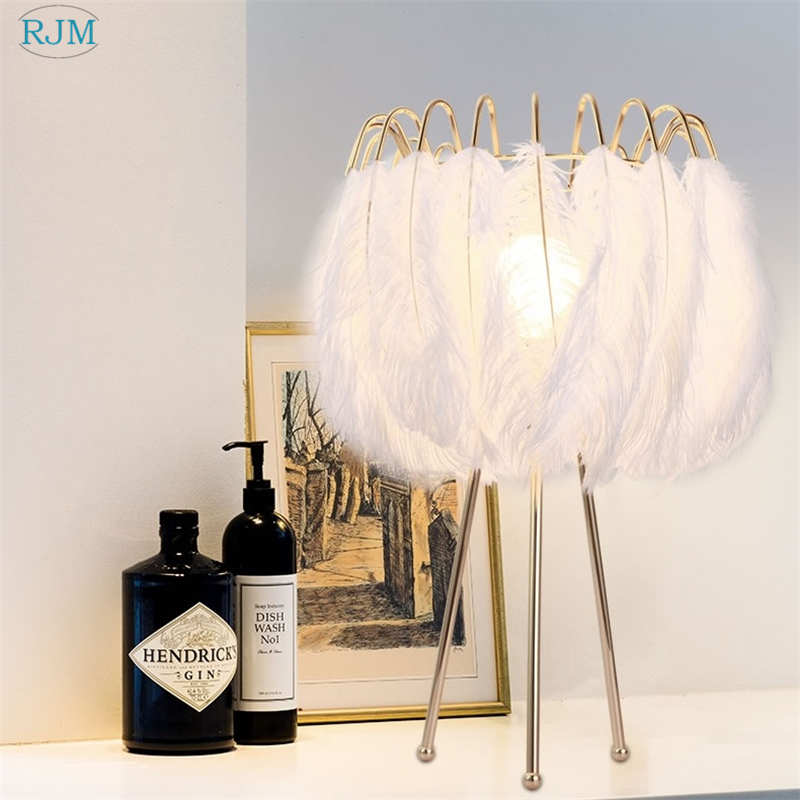 Floor Lamps For Kids Rooms: Nordic Modern Fashion Feather Table Lamps Warm Natural