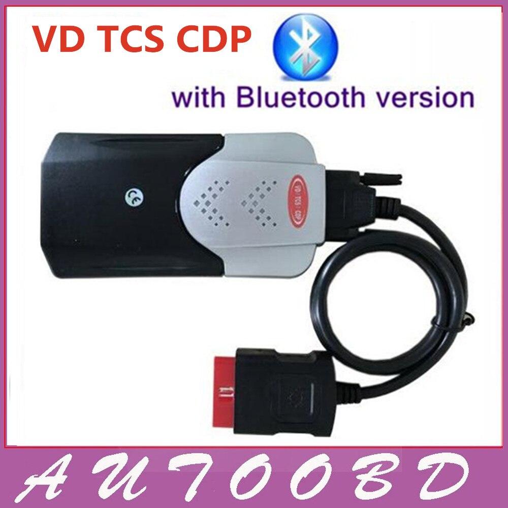 Цена за 2014R2 с Keygen Активации Черный Интерфейс VD TCS CDP + Bluetooth Двойной Синий Доска CDP OBDII OBD2 Авто Автомобиль Грузовик сканер