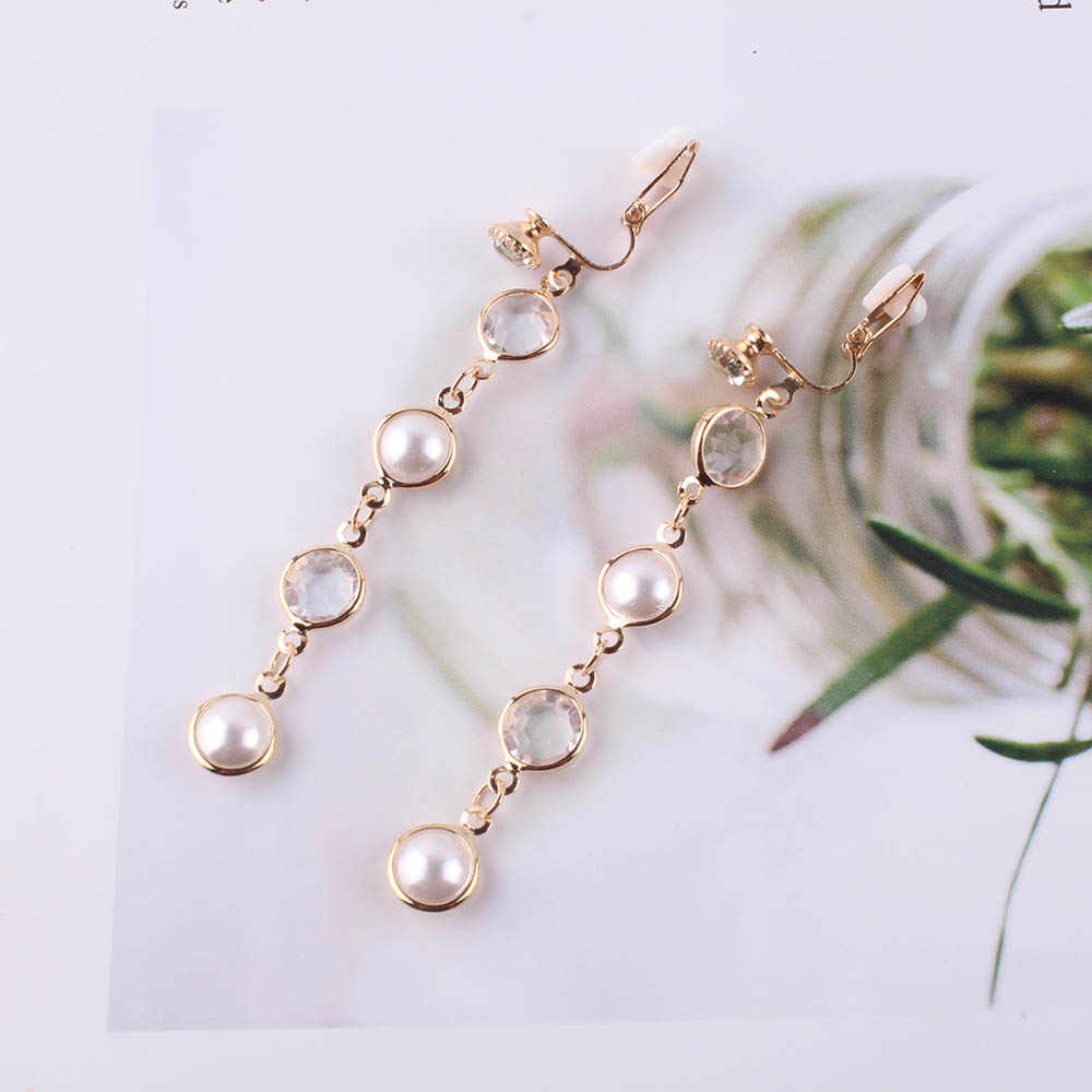 JIOFREE 2018 Fashion New Luxury Shiny Rhinestone Pearl Clip on Earrings for Women Statement Jewelry Brincos Wedding Party Gift