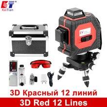 KaiTian 3D Laser Ebenen Outdoor 650nm 12 Linien Kreuzen Ebene mit Slash Funktion und Selbst Leveling 360 Rotary Roten Laserstrahl Werkzeuge
