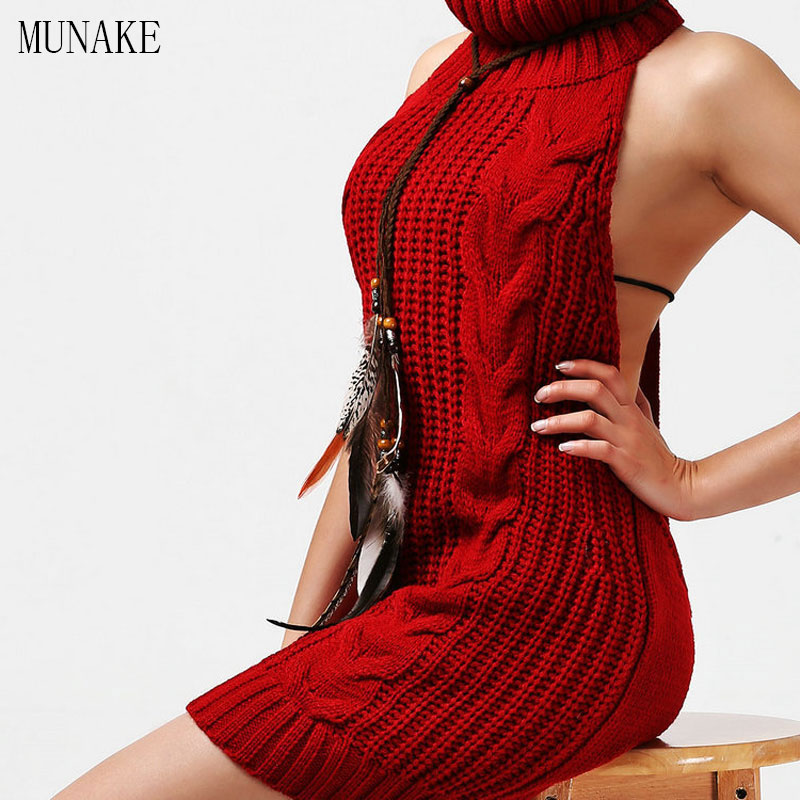 MUNAKE 2017 New Virgin Killer Backless Knitted Women Sweater Sexy Turtleneck Sweaters Inverno Pullovers Black Sex Poncho Sweater