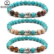 HOBBORN Trendy Natural Stone Men Bracelet Classic Mala Chakra Beads Buddha Head Mix Strand Women Healing Meditation Bracelets