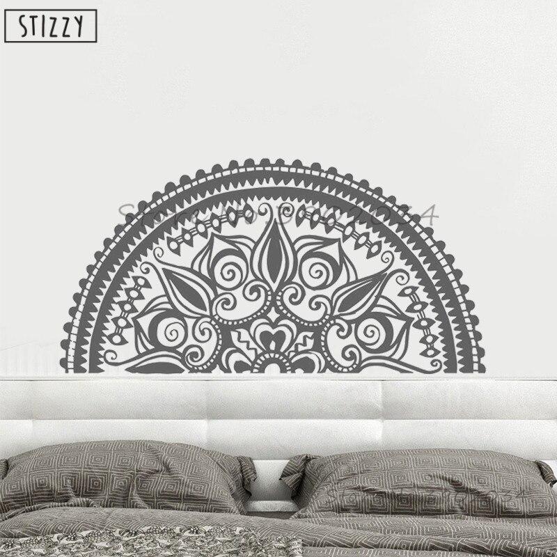 Stizzy Wall Decal Beautiful Half Mandala Flower Vinyl Wall Sticker