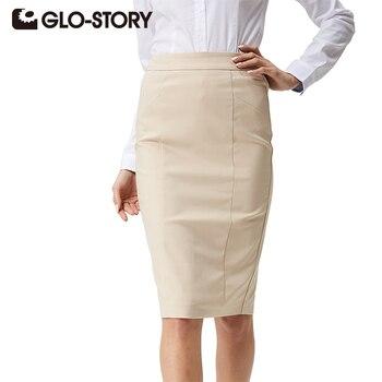 GLO-STORY Women skirts 2017 summer fashion women skirts office wear elegant Knee-length High Waisted Empire Midi Pencil Skirt