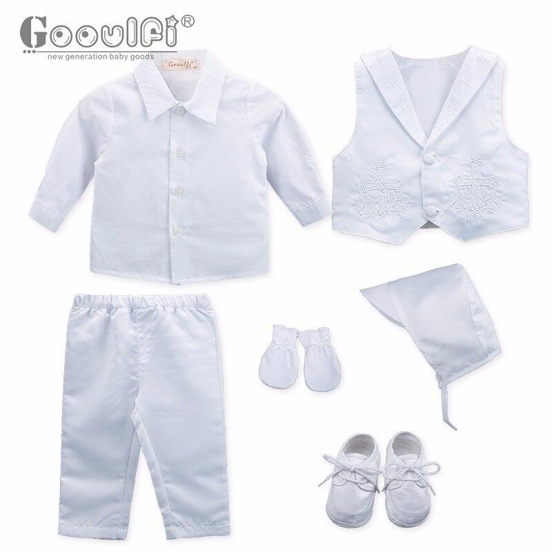 a80fa393a0cb3 Gooulfi Baptême Bébé Garçons Vêtements Point De Croix Blanc Arc Baptême  Baptême Costume Vêtements pour Bébé Garçon Infantile Vêtements Chine dans  ...
