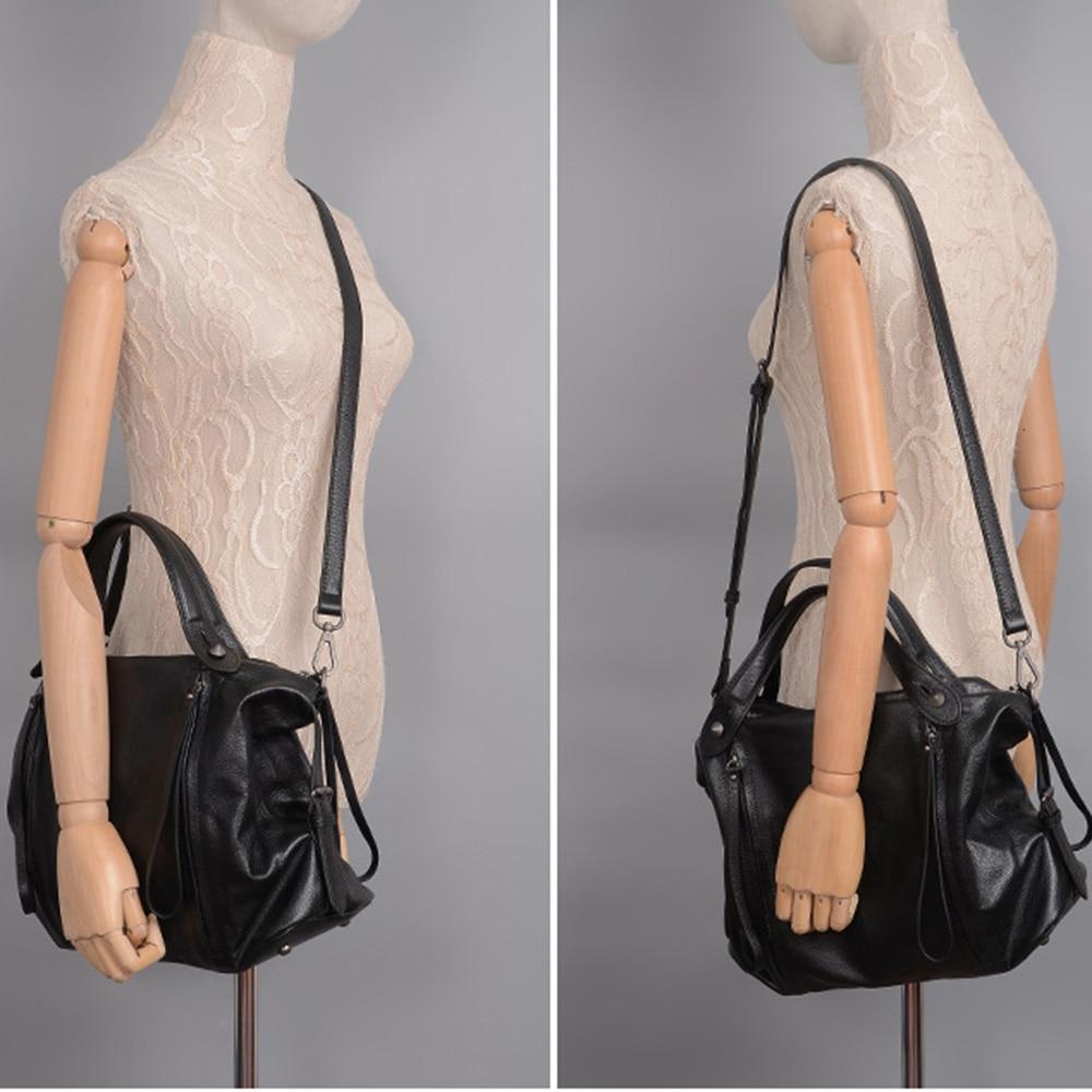 Zency w stylu Vintage kobiety torebka 100% prawdziwej skóry klasyczny czarny na co dzień torebka wysokiej jakości urząd Lady torba na ramię duża pojemność w Torby z uchwytem od Bagaże i torby na  Grupa 3