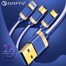 3 in 1 Mobile Phone Cable For Iphone X Samsung S9 Micro USB Type C Charger Xiaomi Huawei P30 Pro 2A Fast Charging Wire