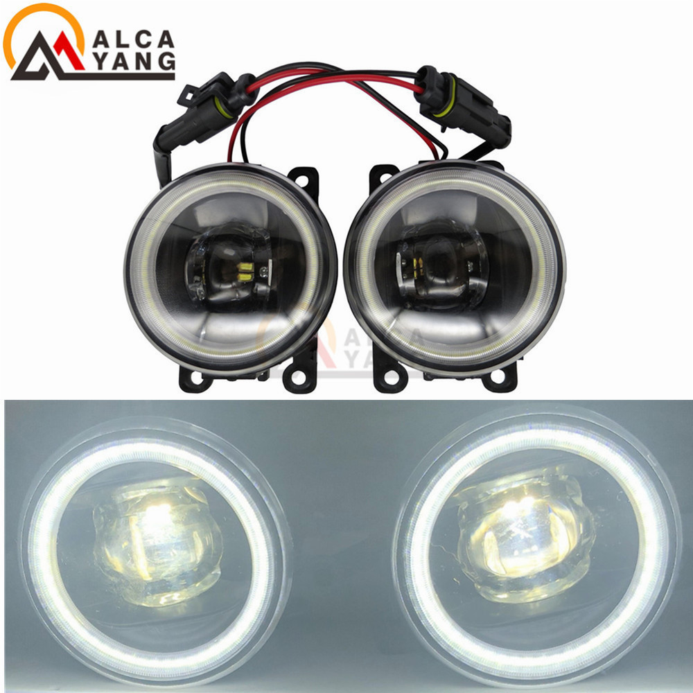 For Peugeot 207 307 407 607 3008 SW CC VAN 2000-2013 Angel Eye 12V DRL Fog Lamps Lighting LED Lights malcayang car styling fog lights for polo general halogen lamps for peugeot 207 307 407 607 3008 2000 2013 1set