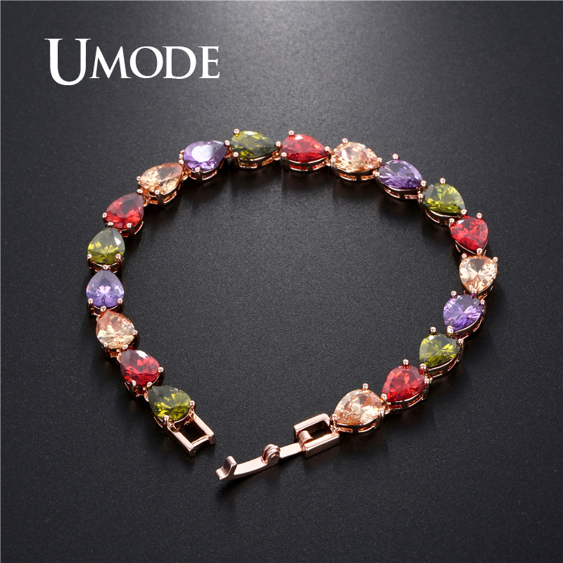 UMODE 2019 New Fashion Water Drop Colorful Zircons Crystal Bracelets for Women Rose Gold Bracelet Jewelry Pulseras Mujer AUB0173 in Chain Link Bracelets from Jewelry Accessories