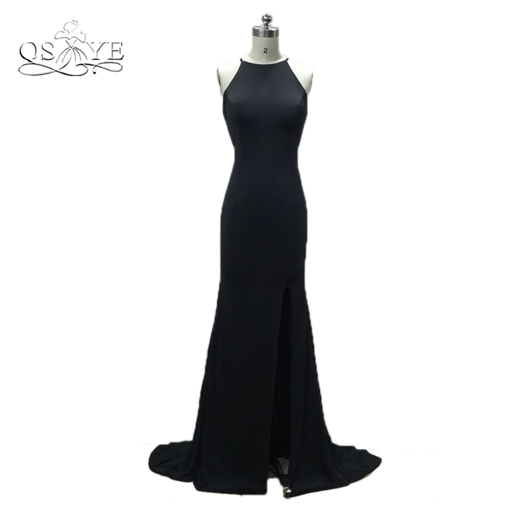 QSYYE Sexy Long Mermaid Prom Dresses 2018 Robe de Soiree O-Neck Sweep Train Formal Evening Dress Party Gown Custom Made