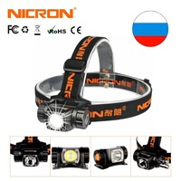 NICRON мини фары супер яркость алюминиевая передняя фара AAA батарея 380LM 150 м водонепроницаемый наружный фонарик Свет H20