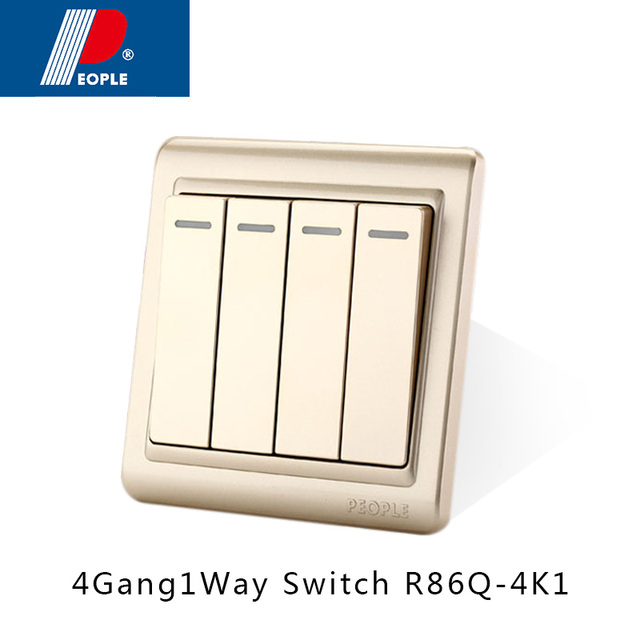 16a 250v button wall mounted home electric switch 4gang 1 way-in ...