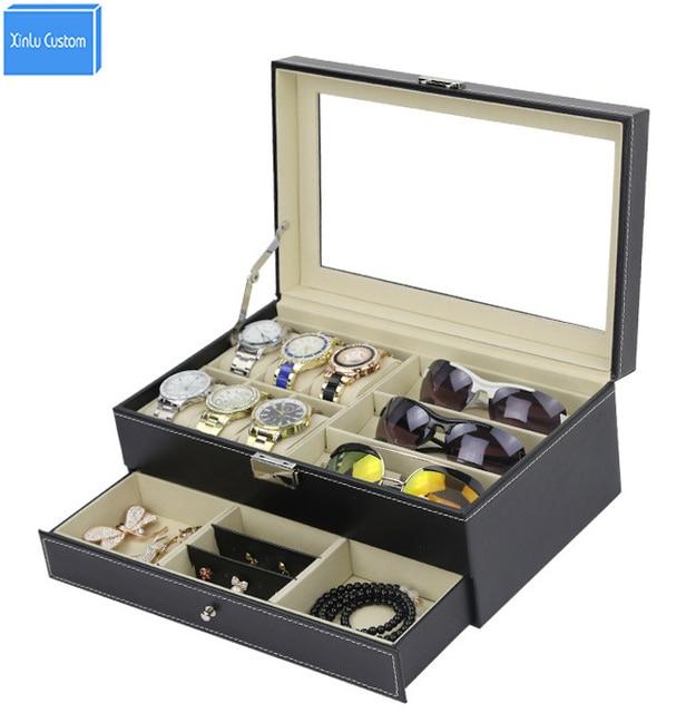 Double Layer Watch Jewelry Bracelet Sunglass Collect Jewel Case Box