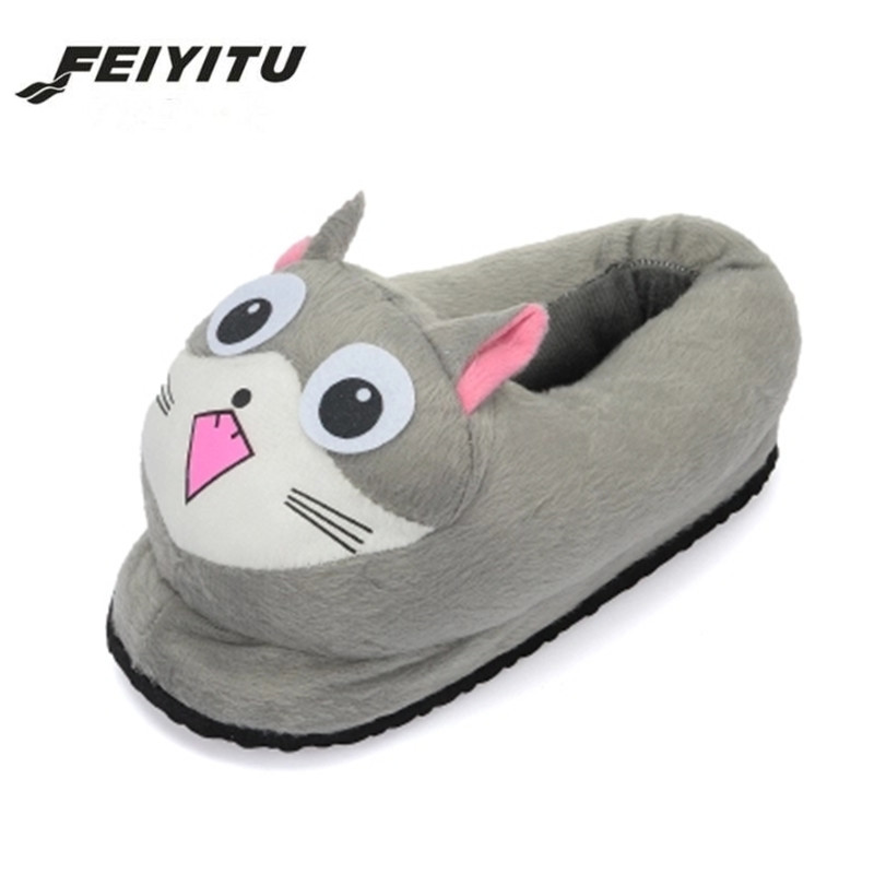 FeiYiTu Cartoon Cat Cotton Slippers Soft Warm Home Slippers For Girls Use Anime Cartoon Plush Stuffed Shoes Cute Winter Shoes anime cartoon monster mudkip flareon snorlax adult plush slippers home winter slippers plush toys