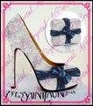 Aidocrystal plata color calma del partido del alto talón zapatos y bolsos/brillante de la boda de zapatos y bolsa de conjunto