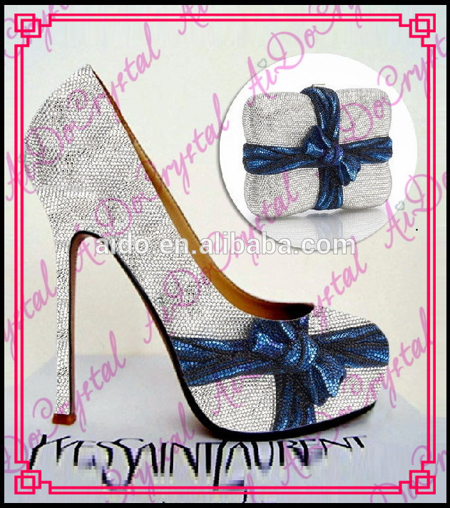 Aidocrystal Silver Quiet Colour High Heel Party Shoes And Bags Shiny Wedding Shoe And Bag Set In