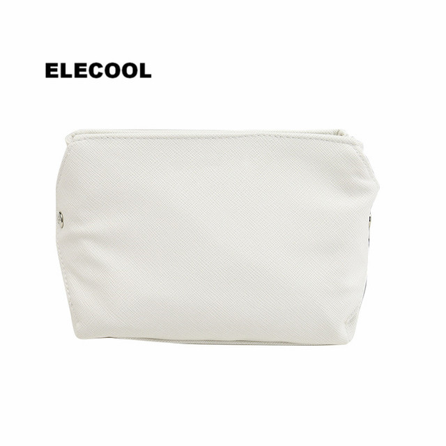 ELECOOL Portable White PU Cosmetic Bag Organizer Holder Pouch Portable Make Up Wash Toiletry Bag Cosmetic Makeup Tools