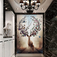 QINGCHUN Custom Printed Fabric Textile Wallcoverings Wall Cloth Matt Silk Deer Landscape Entrance Hallway Corridor Backdrop