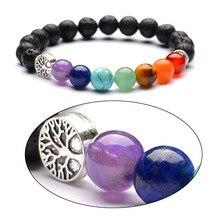 8Mm Lava Stone Tree Van Leven 7 Chakra Healing Balans Kralen Reiki Boeddha Gebed Essentiële Olie Diffuser Armband Sieraden