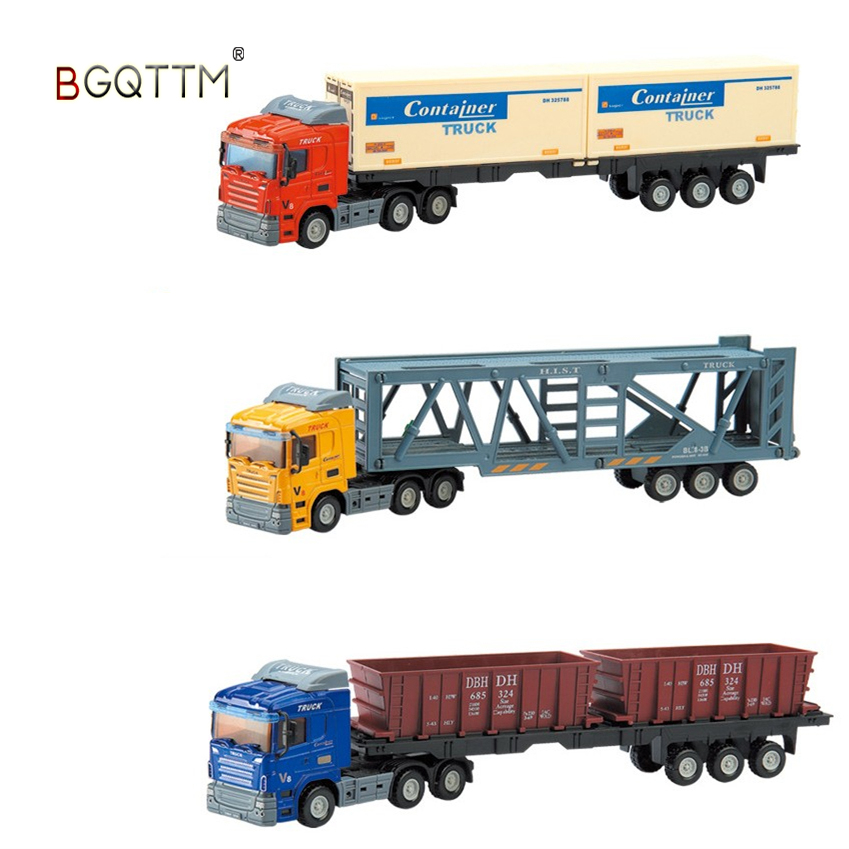 HOT 2018 New 6 Style Truck Wholesale Metal 1:36 Big Container Truck Model Toy Car Luxury Car Cheap Toys Kids Chirstmas Best Gift