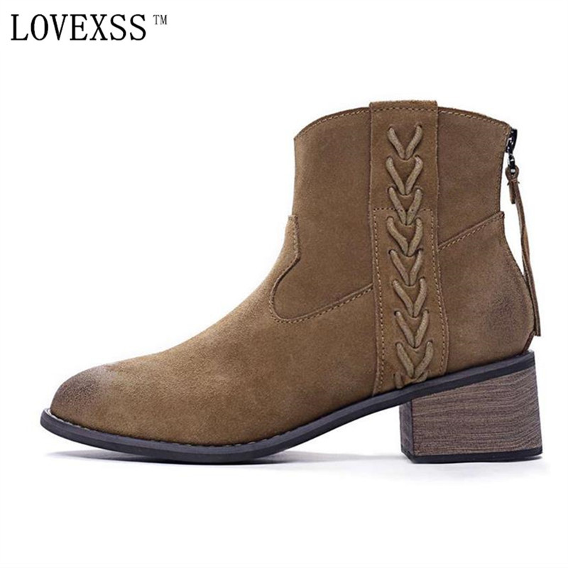 LOVEXSS Genuine Leather Chelsea Boots Warm Plush High Quality Nubuck Leather Woman Martin Boots Brown Thick With Ankle Boots