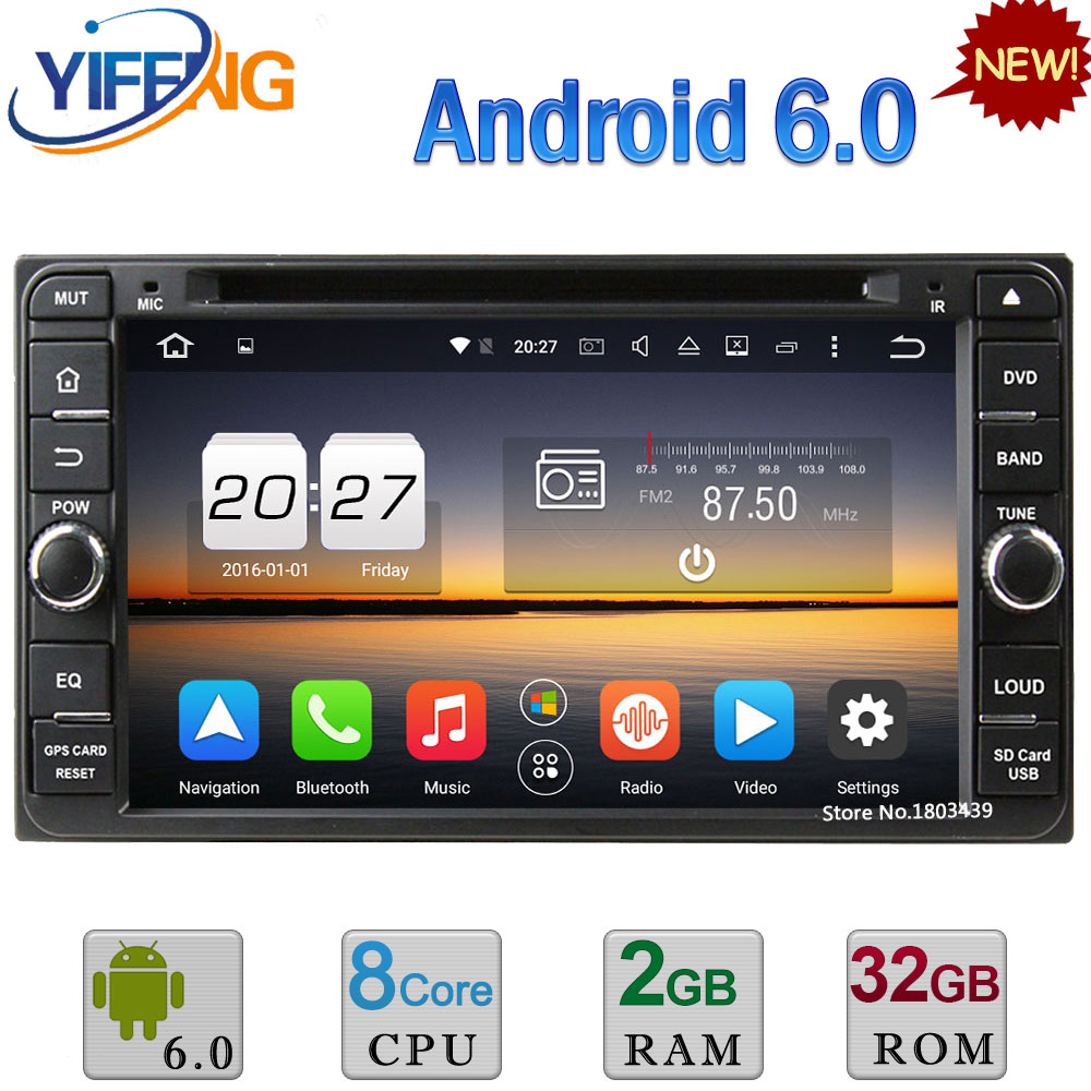 Android 6.0 Octa Core 4GB RAM 2DIN Car DVD Radio Player For Toyota Land Cruiser 100 4500 Terios Vitz Prado RunX Highlander Hiace